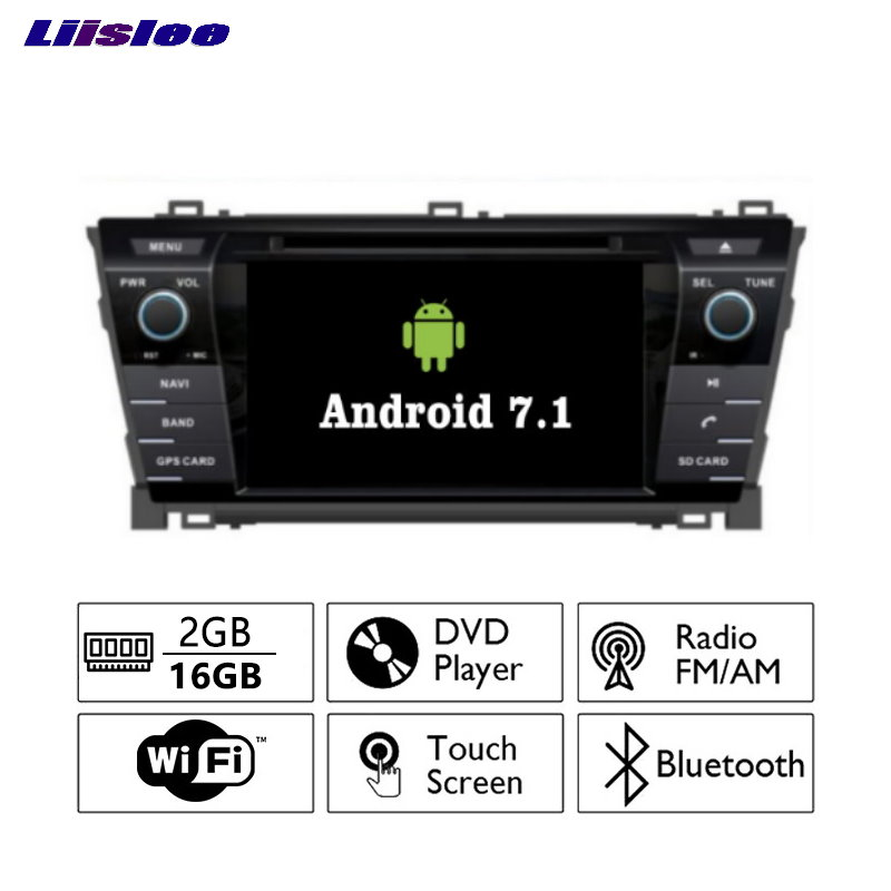 Liislee Android 7.1 2 г Оперативная память для TOYOTA COROLLA 2013 ~ 2017 автомобилей Радио Аудио Видео Мультимедиа dvd-плеер WI-FI DVR GPS Navi навигации