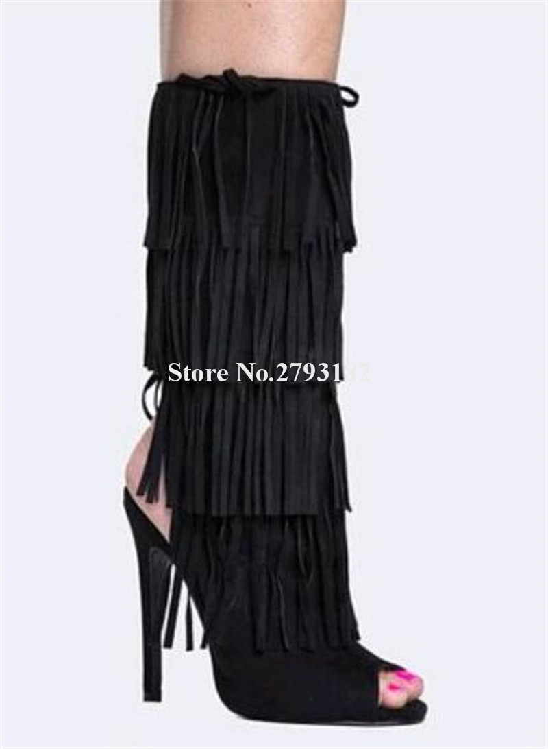 Gladiador Diseño De Abierto De becerro Alto Flecos Con Borlas Negro Toe Recorte Marca Mediados Botas Suede Tacón Moda Mujer PwwqfAg