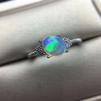 Natural Oval Opal Stone Solid Silver 925 Rings Women Cute Sweet Love Heart Thin Band Real