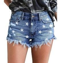 2019 Summer Women Denim Shorts Washed Stars Print Sexy Shorts Frayed Tassel Jean Shorts frayed hem denim shorts