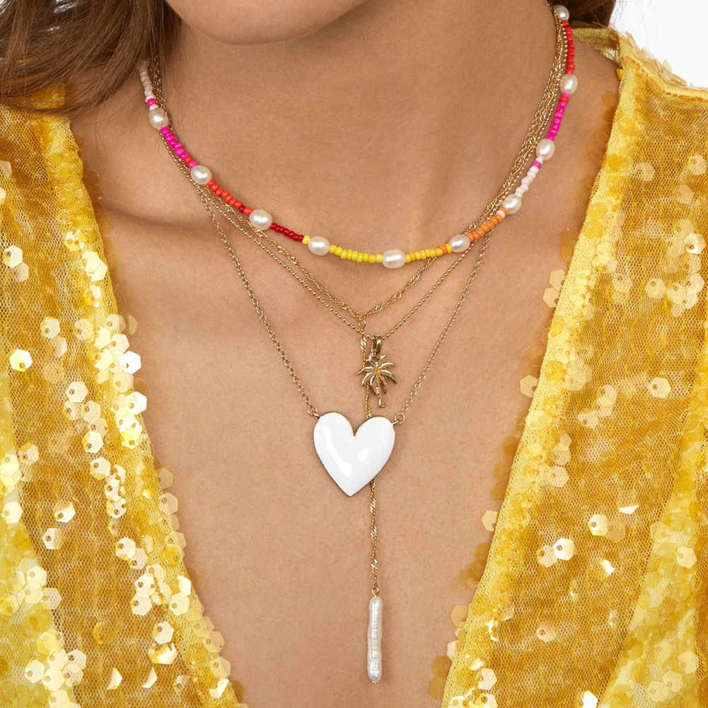 Miwens Bauble Bar Charm Heart Pendant Necklaces For Women Bridal Maxi Chians Statement Necklaces Set Porm Bohemia Party Jewelry