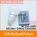 5W E27 RGB LED Light Bulb 16 Color RGB Change AC 110V/220V with Remote for home party decoration atmosphere