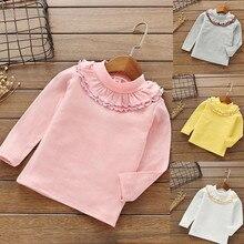 Одежда для малышей для девочек, Осенние футболки с длинными рукавами, с манжетами и Карамельный Цвет топы для девочек Повседневное однотонные футболки одежда# YL2