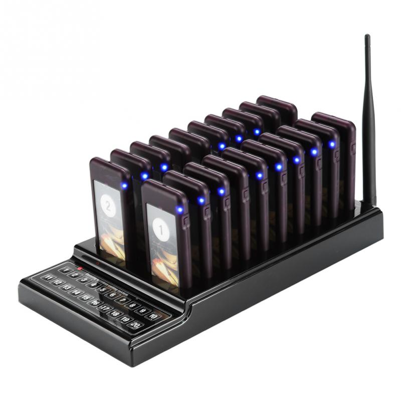 Restaurant Pager Système 20 Canaux Paging clients Système 1 km Connexion Distance Restaurant Pager Sans Fil Coaster Pager US Plug