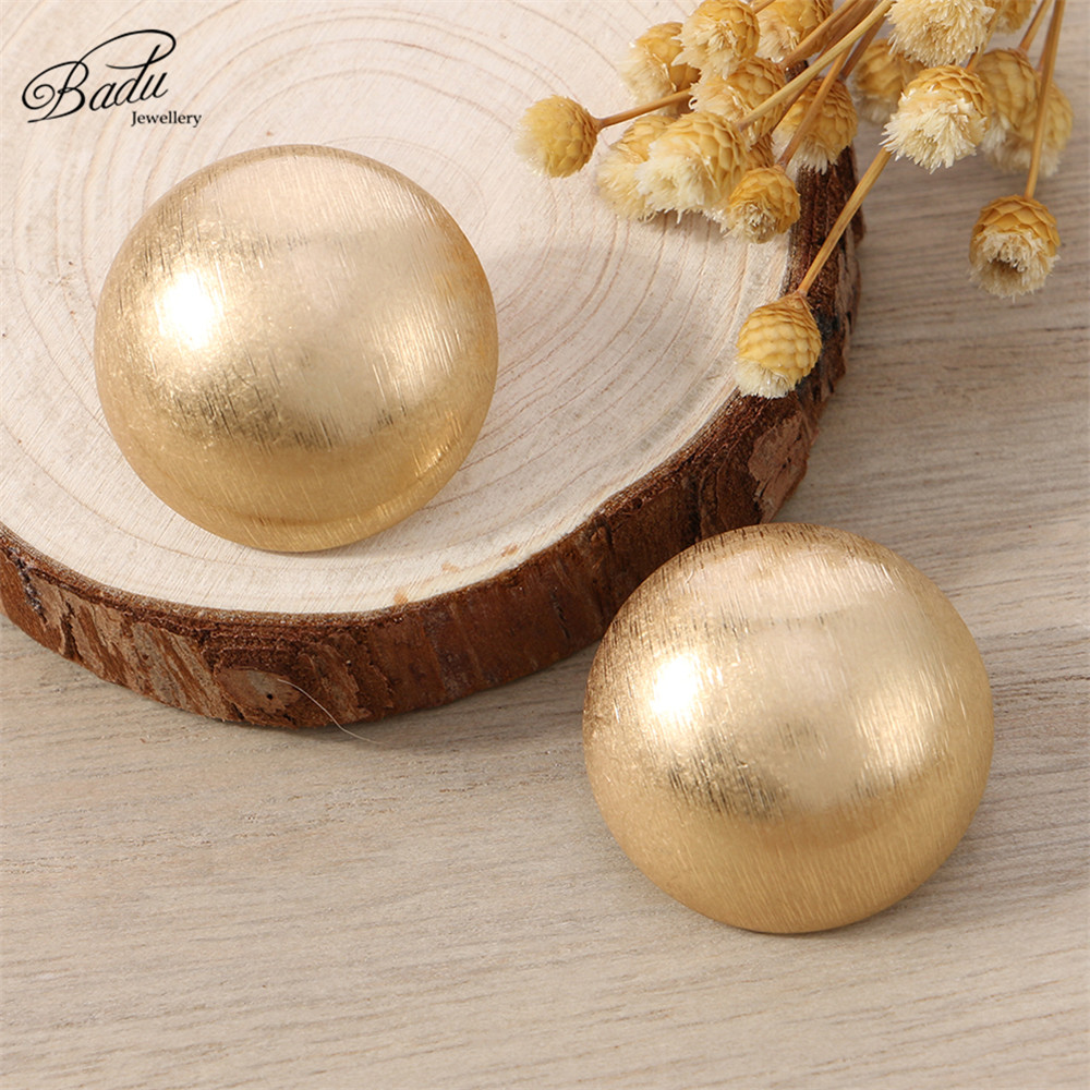 Badu Frosted Gold Semi-Ball Stud Earring for Women Vintage Fashion Jewelry Big and Small Different Size Earring Wholesale