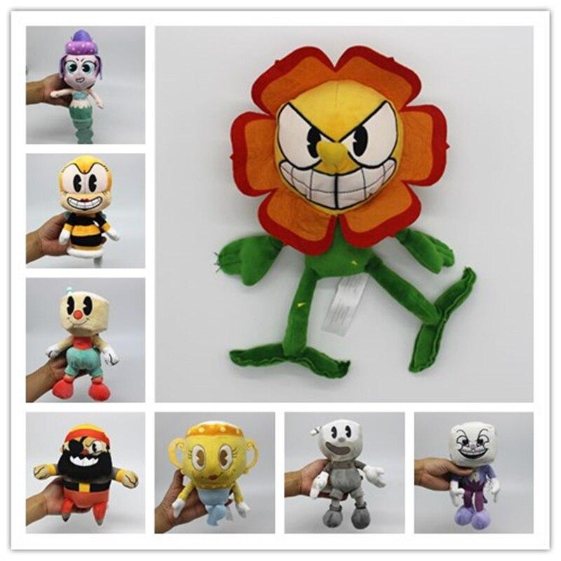 1 unidades juego caliente Cuphead de peluche de juguete Mugman el diablo legendario cáliz rey dados juguetes para niños nuevos juguetes de la llegada