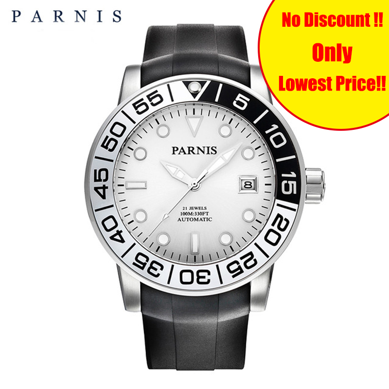 Rubber Mechanical Men's Watch Parnis Sapphire Rotating Mix Color Bezel Luminous 21 Jewel Casual Sports Mens Watches Automatic image