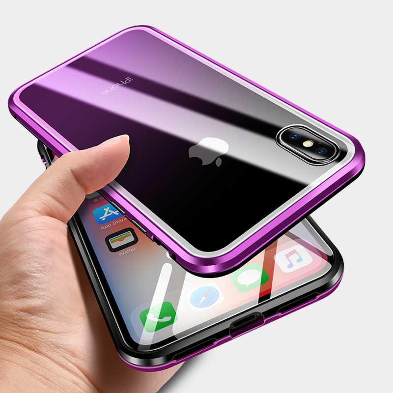 ل فون XS ماكس غطاء حالة ترف الصلب المغناطيسي المعادن الألومنيوم سبائك واضح الزجاج حماية درع الهاتف حقيبة لهاتف أي فون X غطاء