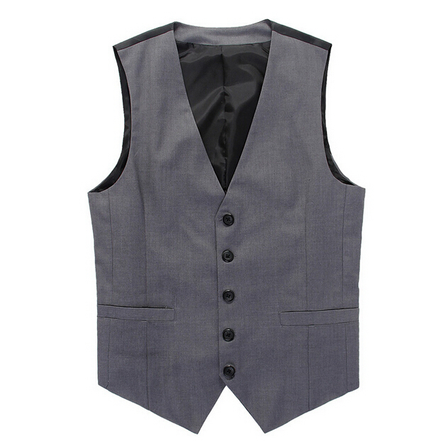New Brand Men's Slim Dress Business Suit Vest Men Gilet Colete Plus Size 3XL Black Gray Stitching Fashion Waistcoats