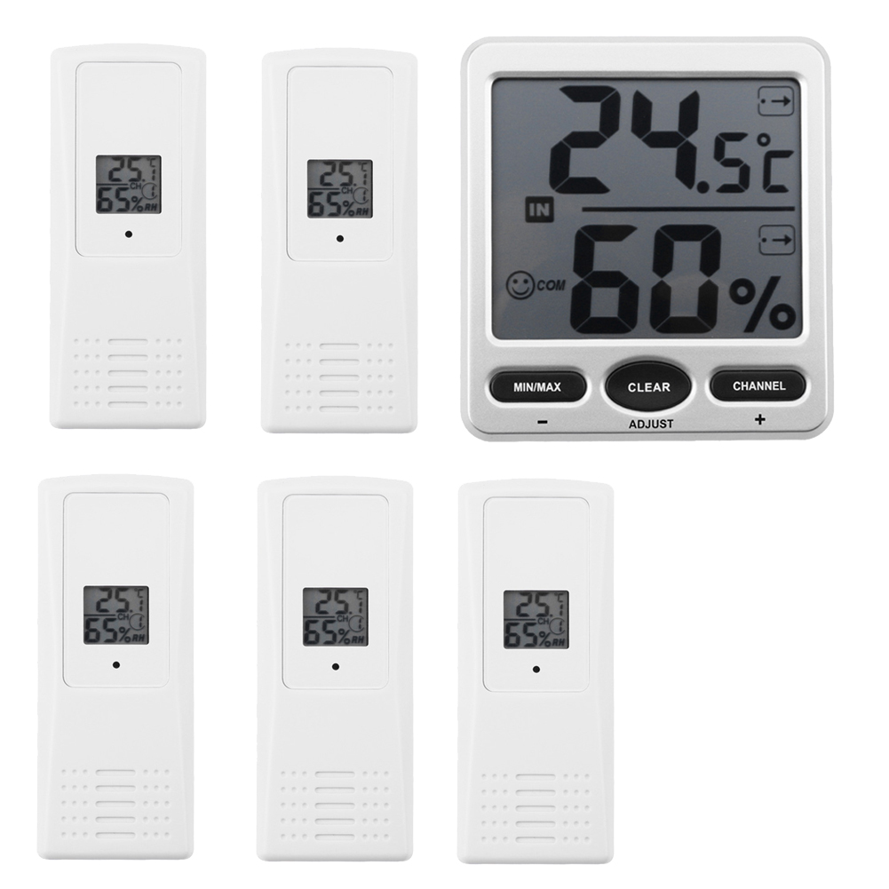 LCD Digital 433MHz Wireless 8-Channel Indoor/Outdoo WS-07-X5 Big Digit Thermo-Hygrometerwith Five Remote Sensors Thermometer H hc520 2 5 lcd indoor