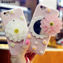 Aoweziic флэш-порошок цветок зеркало для iPhone7 8 плюс 6s X XS MAX XR мобильного телефона силиконовый защитный чехол крышка женский модель