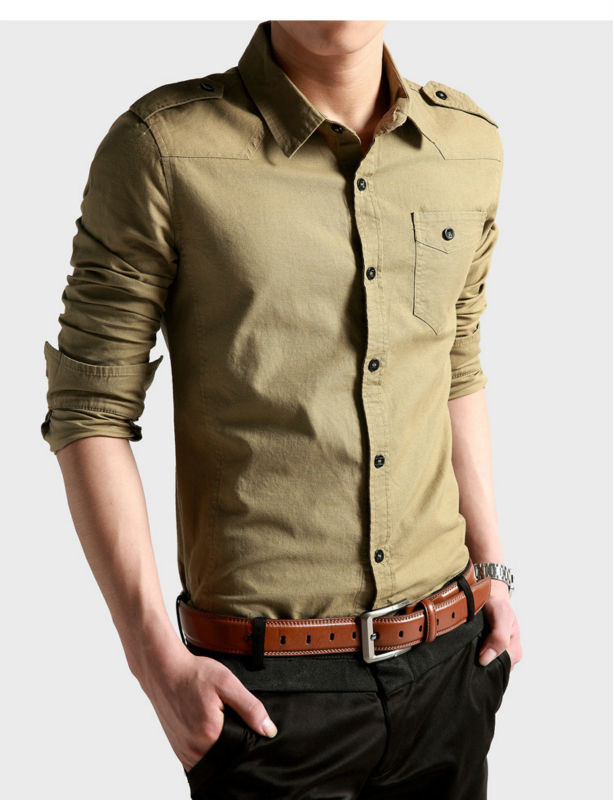 144 new men stylish casual slim fit long sleeve dress for Men s dress shirt accessories