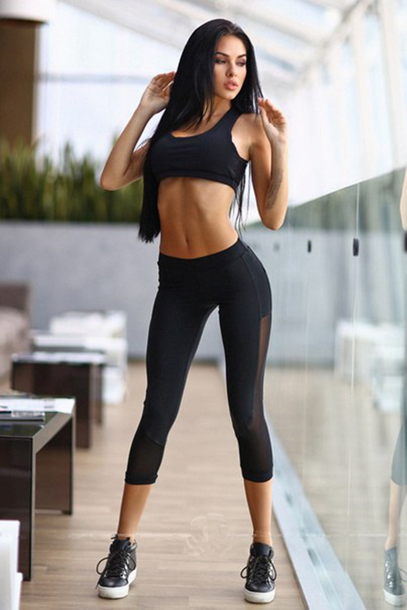 Yoga Sets Leggings + Bra Fitness Sexy Mesh Training Suit ...