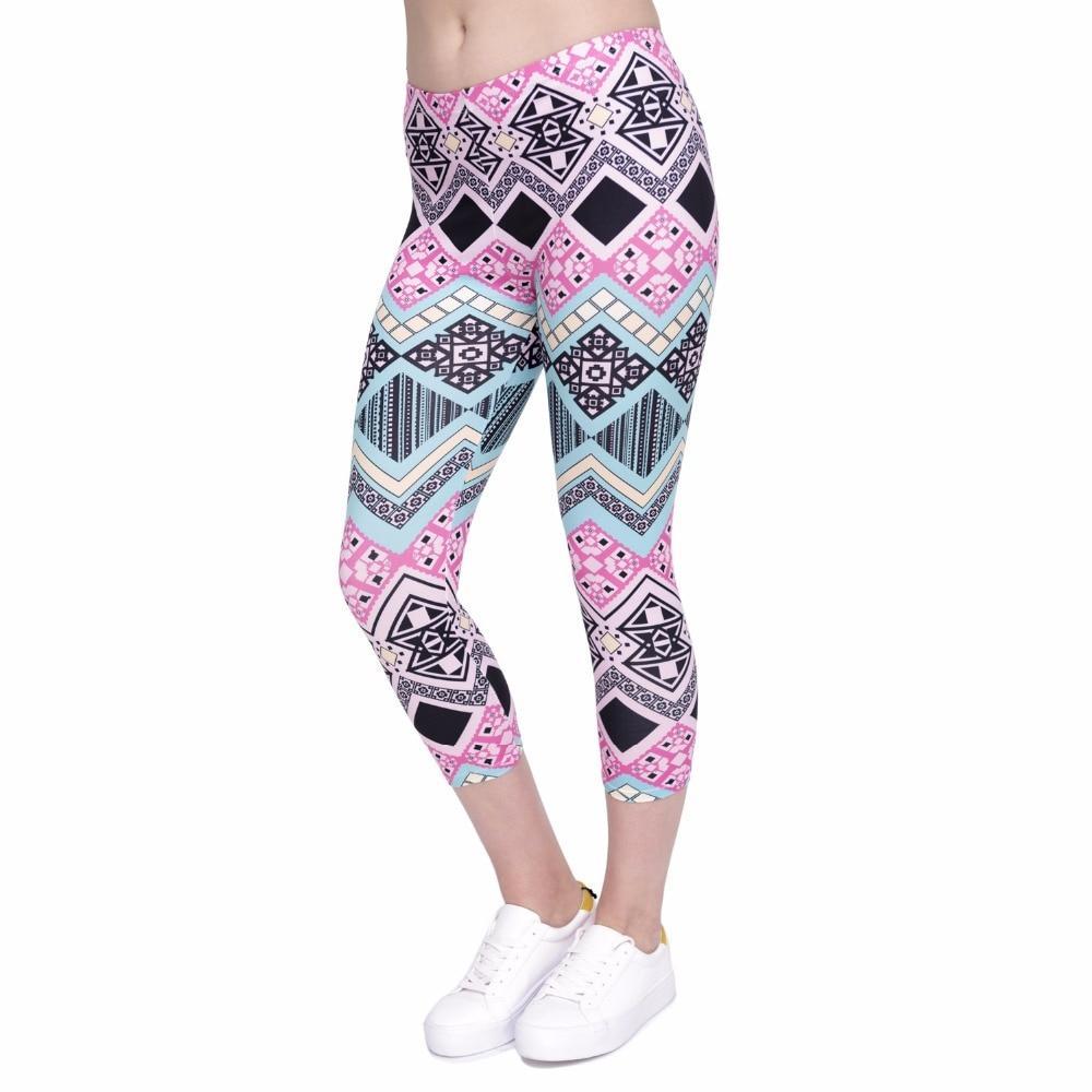 Summer New Design Women Capri Leggings Aztec Printing Mid-Calf 3/4 Fitness Leggins Woman High Waist Capri Pants