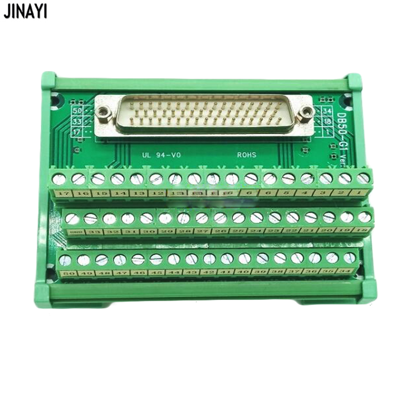 50 Pin DB50 D SUB Female Male Terminal PCB Module Breakout Board DIN Rail Mounting Adapter