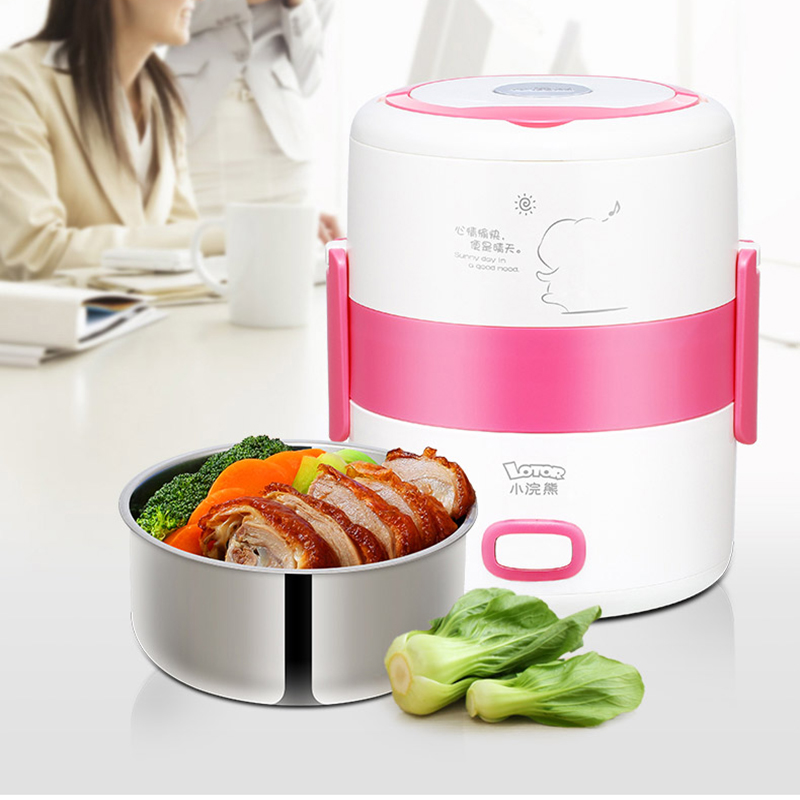 New coming 200w power 1.3L capacity 220V input Two layers mini rice cooker lunch box ,heat food mini cooker рисоварка cooker lunch box capacity 875ml 125ml capacity plate