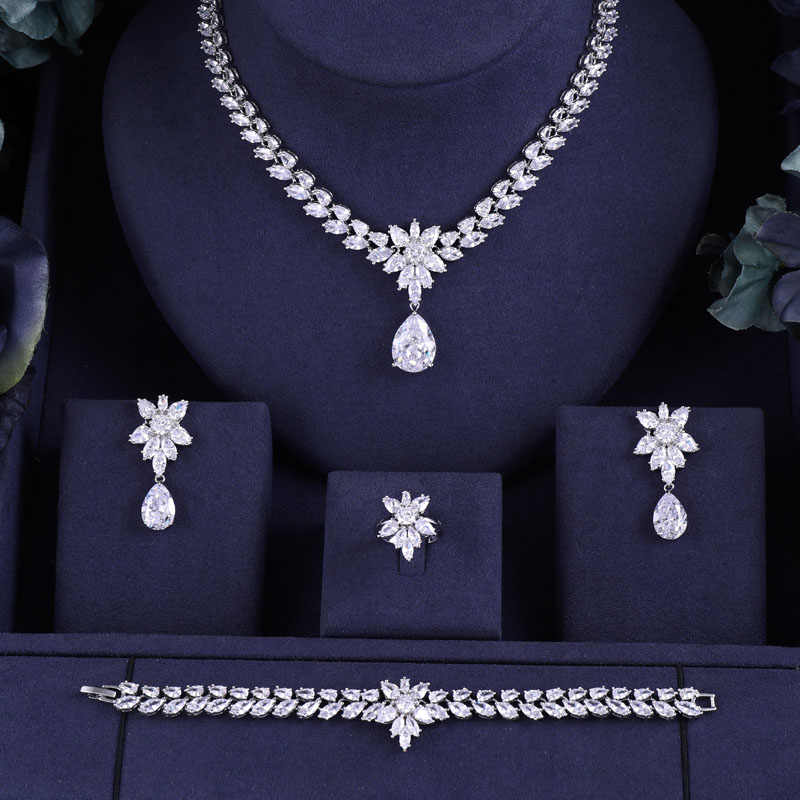 JaneKelly Fashion New Rhodium Color Fashion Top Quality Wedding Jewelry Sets, AAA CZ Flower Bridal Earrings Necklace Sets S069