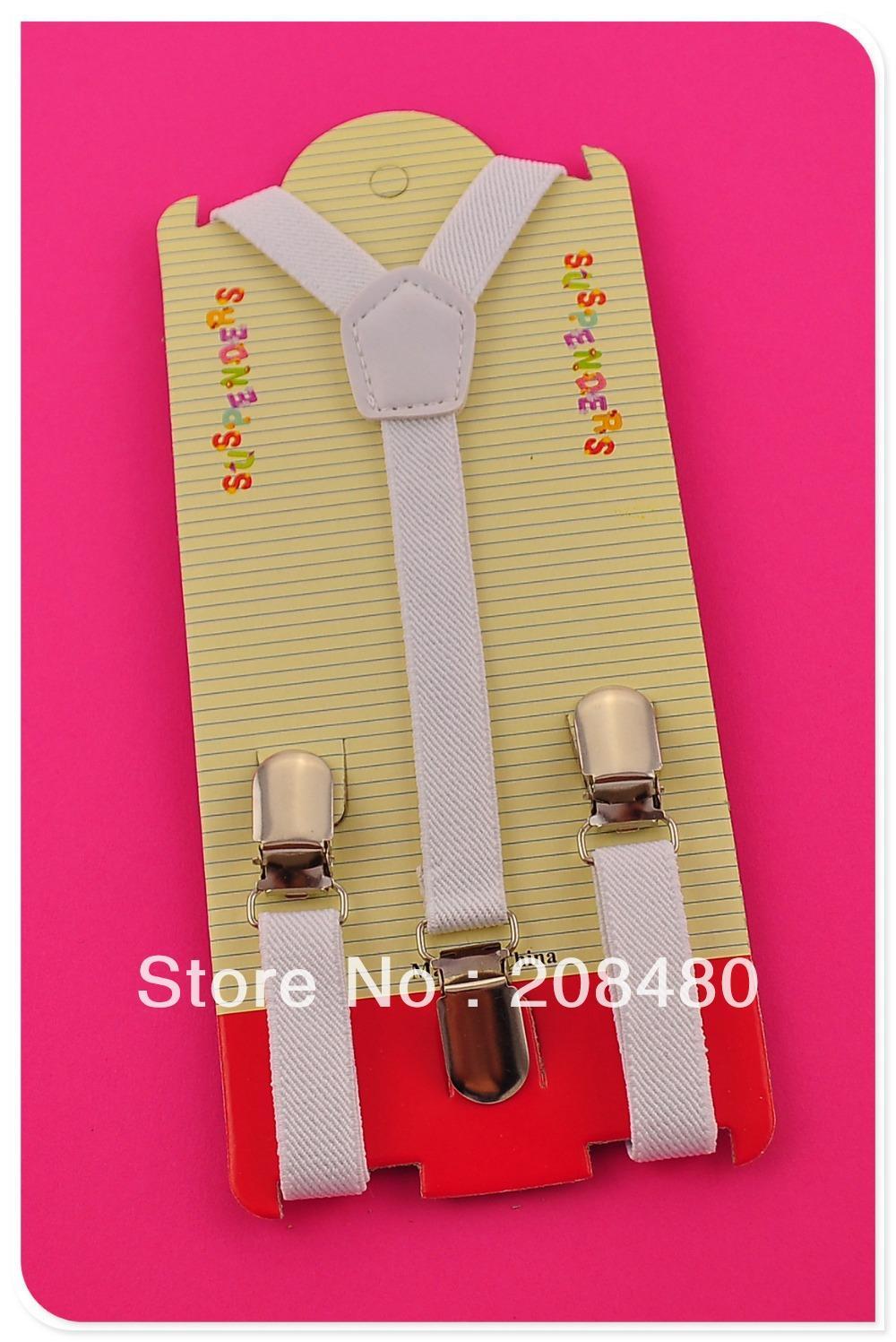 Free Shipping-1.5x65cm White Kids Suspenders Children/Boys/Girls Suspender Elastic Braces Slim Suspenders-Wholesale & Retail