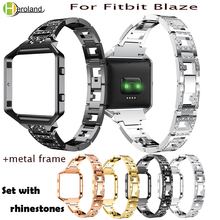 Smart WristBand 23mm For Fitbit Blaze Alloy Steel Watch Bands Smart Accessories Rhinestone Bracelet Strap With Metal Frame case watchbands stainless steel strap bands bracelet black silver gold with tool for fitbit alta blaze tracker smart wristband