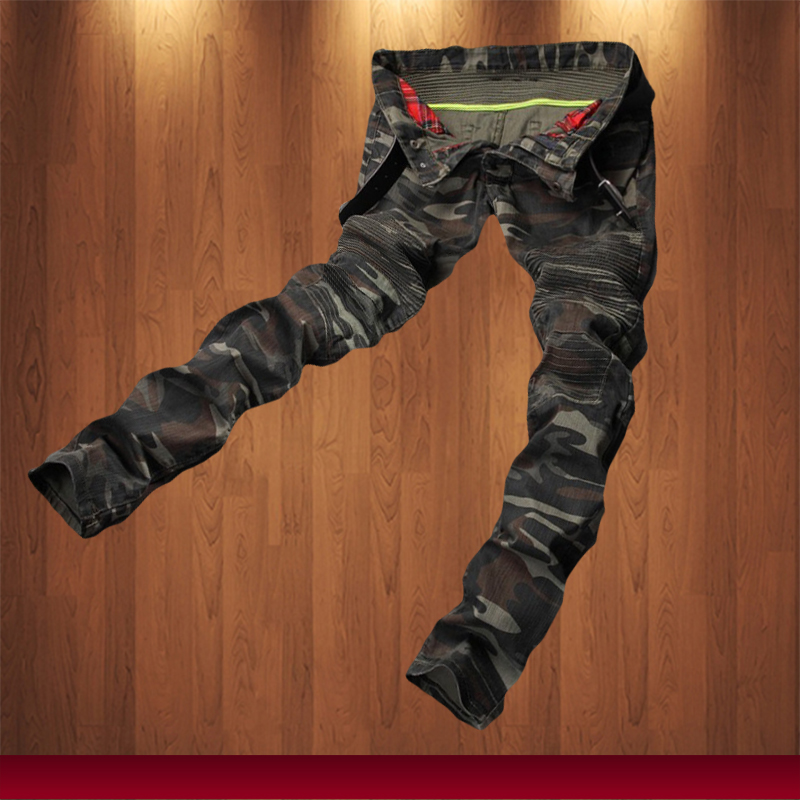 New Mens Camouflage Jeans Motocycle Camo Military Slim Fit Famous Designer Biker Jeans With Zippers Men MB208 2016 new spring summer jeans men high quality ripped biker jean pantalones vaqueros hombre new famous brand mcalca jeans