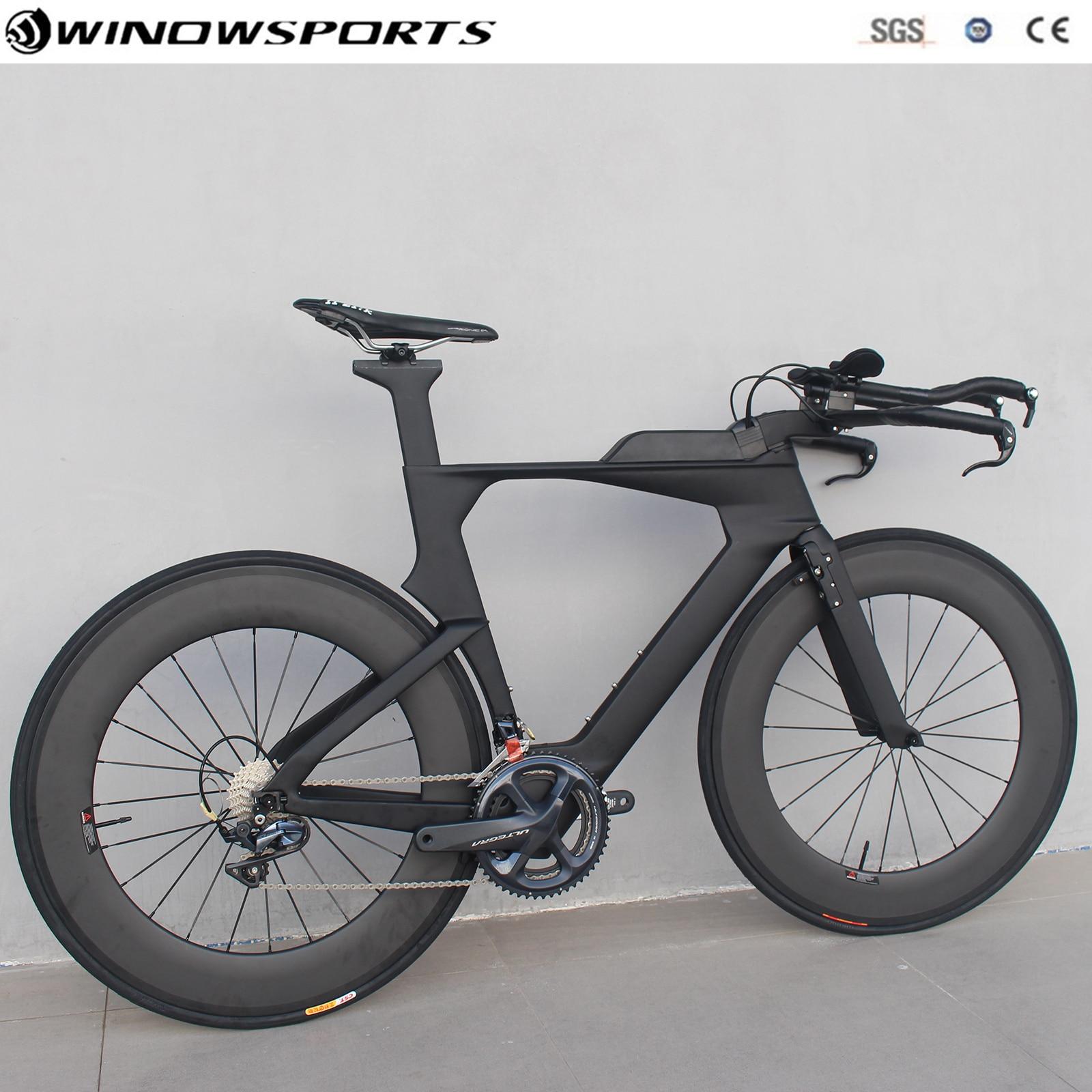 ChineseTriathlon vélo carbone contre-la-montre vélo tout carbone TT vélo 22 vitesses 105 R7000/UT R8000 Groupset tt vélo szie 48/51/54cm