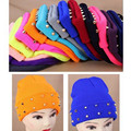 2016 Autumn Winter Women Knitted Hat Female Jelly Fluo Hat Plastic Rivets Wrap Gorro Beanies Cap Warm Many Colors