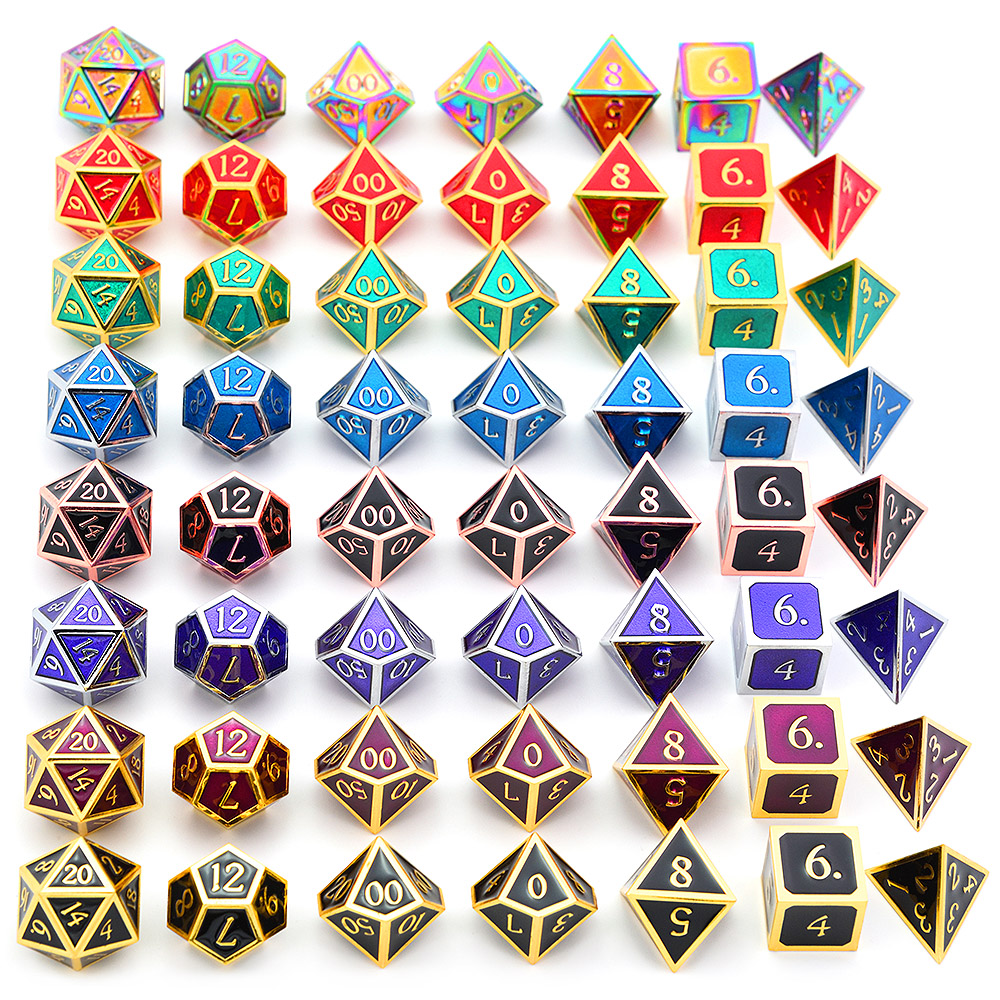 Shiny Zinc Alloy Polyhedral Metal Dice Dungeons And Dragons Dice DnD Dice For Table Top Games