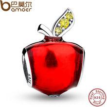 Original de apple rojo blanco como la nieve de ley 925 de plata de bolas de ajuste pulsera y collar de la joyería auténtica accesorios pas078