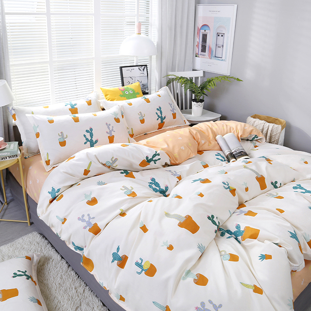 4pcs/set Cartoon Cactus Potted Plant Printing Bedding Set Bed Linings Duvet Cover Bed Sheet Pillowcases Cover Set