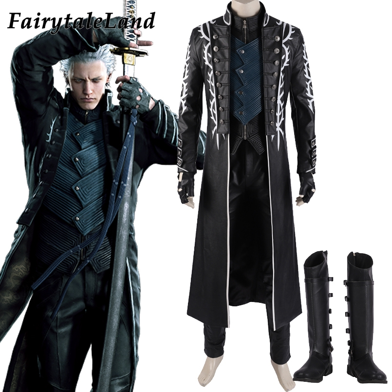 Vergil Costume Hot Game DMC5 Outfit Cosplay Evil Suit Dante s Brother Vergil leather Suit Fancy