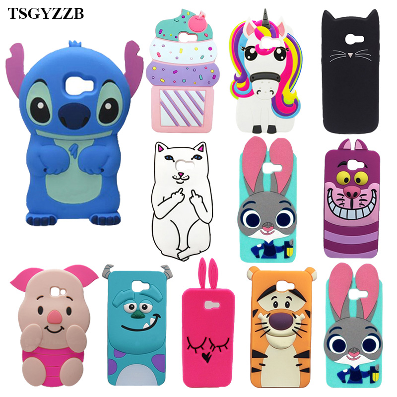 For Samsung Galaxy A3 A5 A7 2017 A320 A520 A720 Cases 3D Silicone Unicorn Minnie Mouse Stitch Cartoon Soft Phone Back Skin Cover
