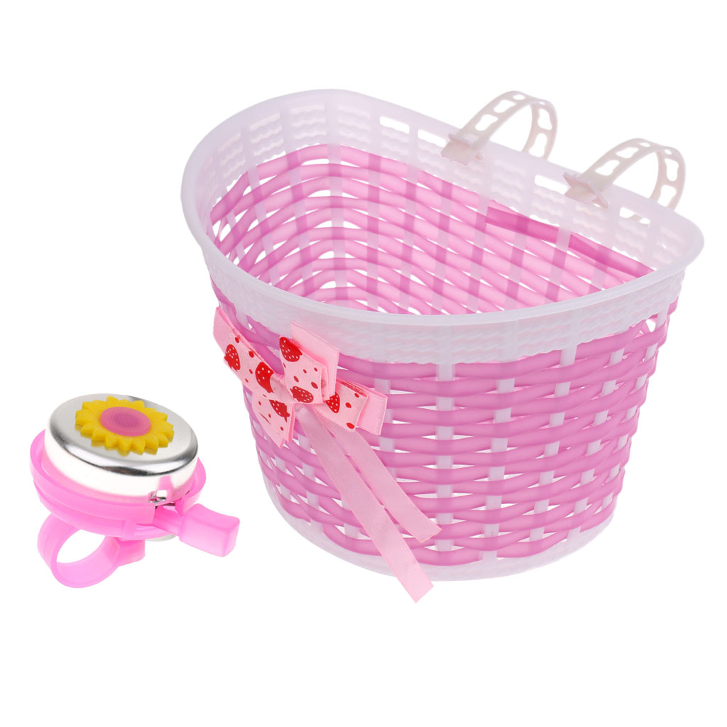 2pcs Bicycle Basket Front Bag Children Kids Bicycle Handlebar Scooter Bell + Basket Shopping Stabilizers Cycling Accessories