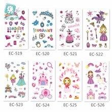 Pink Princess Series, Castle Design Cartoon Crystal Fake Tattoo Sticker Dream Gril Temporary Waterproof Stickers