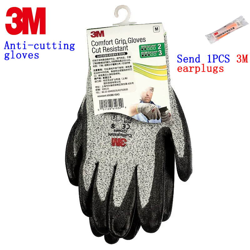 3M anti cut gloves Level 3 cut Nitrile coating Non-toxic safety glove against slaughter glass Meat processing working gloves anti cut resistant ansi cut 4 work glove en388 level 5 hppe liner with micro foam nitrile coating working safety glove 40pairs