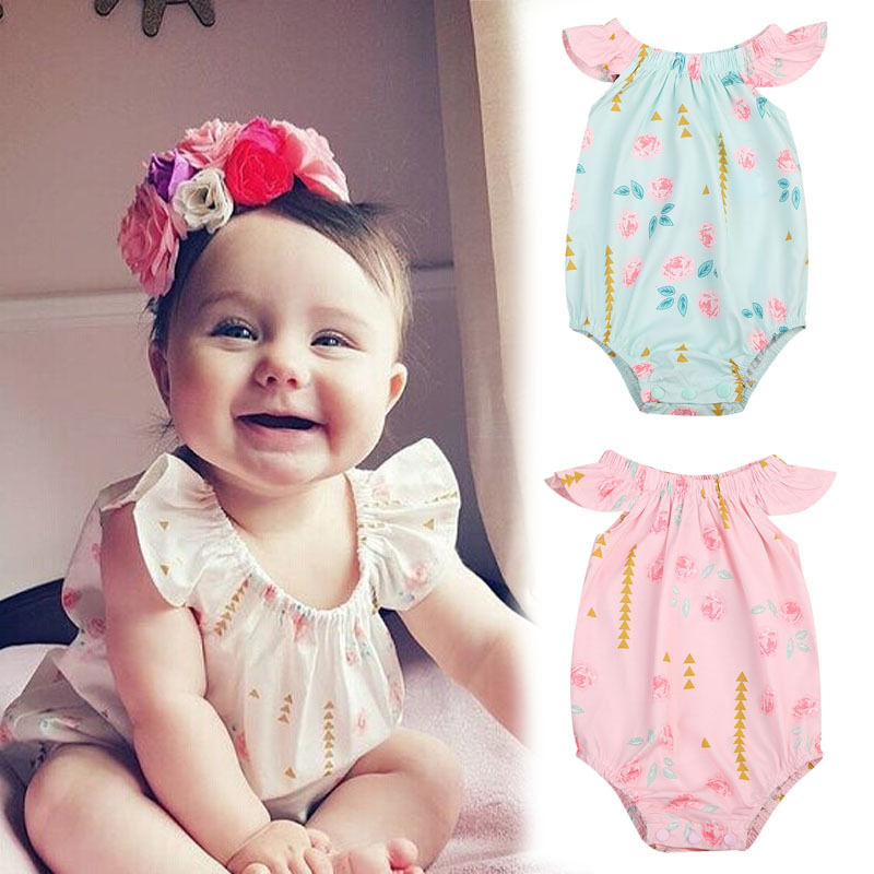 CA Newborn Baby Girls Floral Jumpsuit Outfits Sunsuit bodysuits baby girl clothes bodysuit Clothes