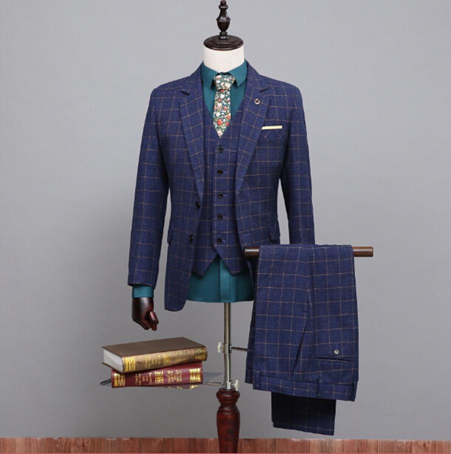 Aliexpress.com : Buy 2016 New Blue Classic Tweed Custom Made Wool ...