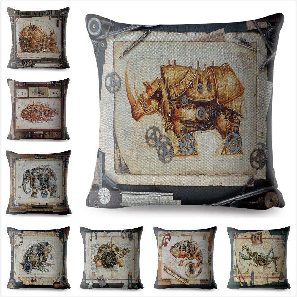 Victorian Cinema Projector Hat steampunk Vintage Cushion Cover fantasy