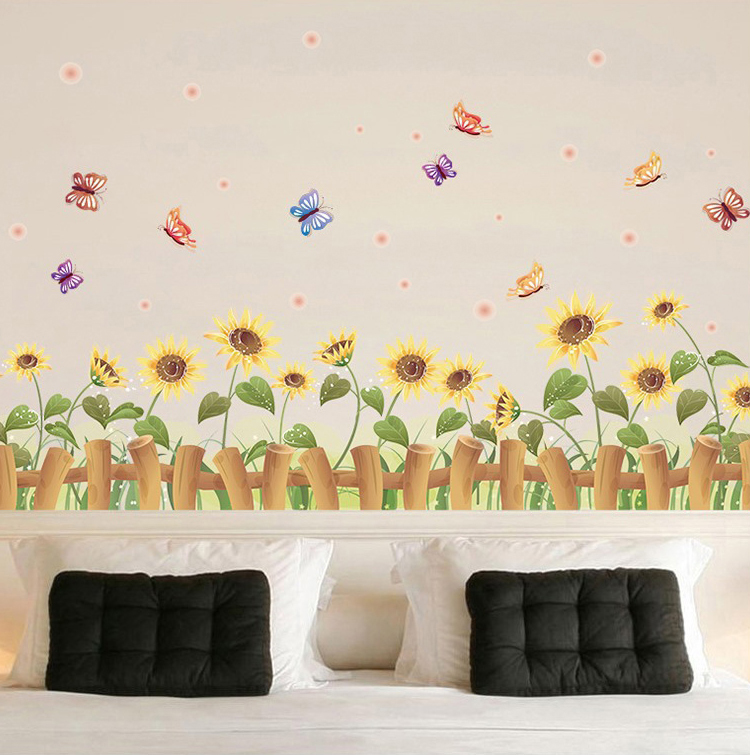 Beautiful Sunflower Fence Baseboard Wall Stickers Home