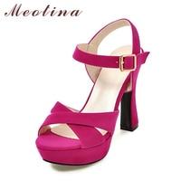 Meotina Women Shoes Sandals Summer 2017 Platform Sandals Plus Size 34 43 Ankle Strap High Heel