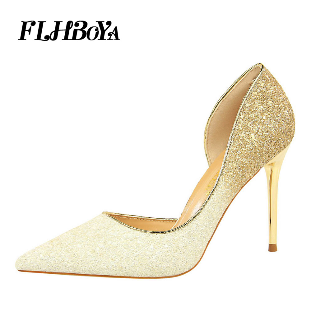 New Women Pointed Toe High heels Pumps Fashion Squined Cloth Black Thin Heels Womens Sparkling Shoes Plus Size Bling Ladies pump cd led zeppelin bbc sessions