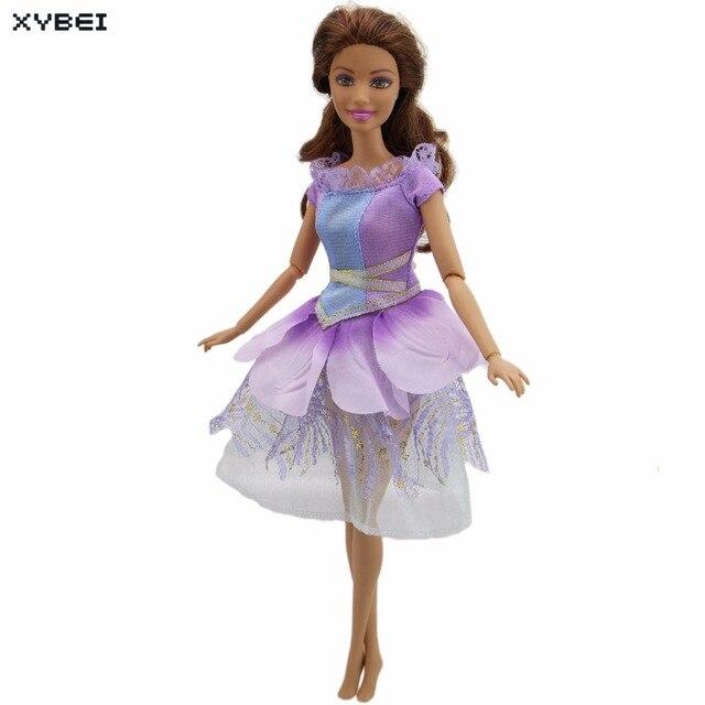 Buatan Tangan Ungu Gaun Pesta Pernikahan Gaun Renda Rok Bunga Pola Putri  Pakaian untuk Boneka Barbie 2586e8961a