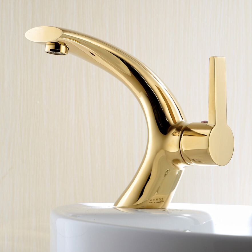 BECOLA Gold bathroom faucet Creative curved bathroom faucet Brass ...