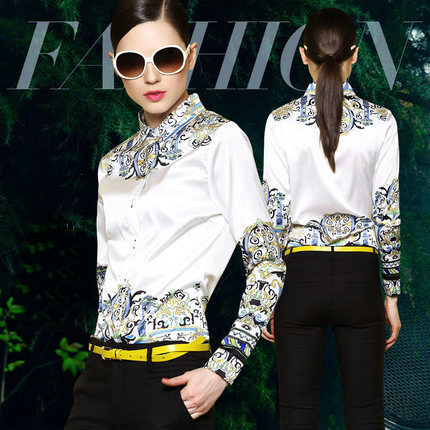 2015 camisas da forma original Do major suit Simples das mulheres imprimiram a camisa moda Ms longo sleeved camisa camisas femininas - 4