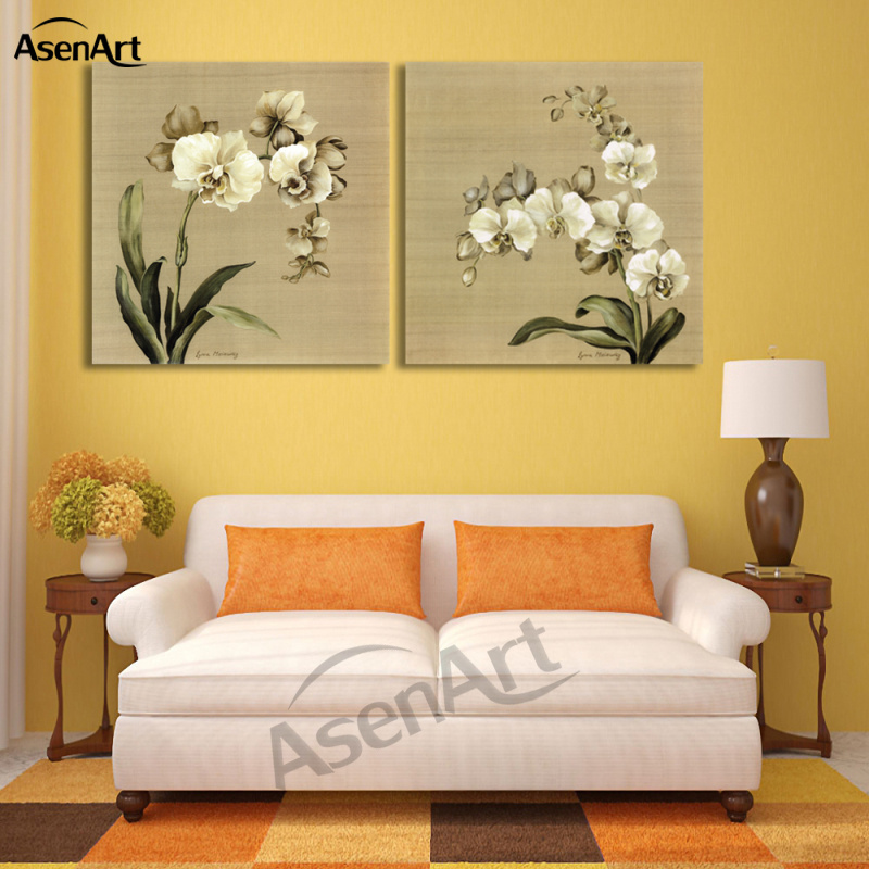 2 Panel Butterfly Orchid White Flower Painting Picture for Living ...