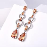 Luxury Olive AAA CZ Zirconia Diamonds Long Earrings Romantic For Female Water Drop Dangle Wedding Party