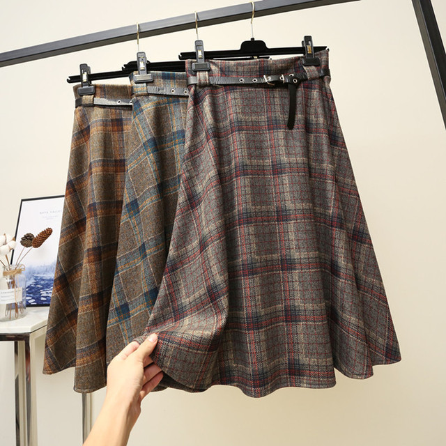 a7d60dbaae6 Autumn winters tall waist skirt getting new plaid skirts posed cloth  restore ancient ways long elastic waist umbrella skirt girl