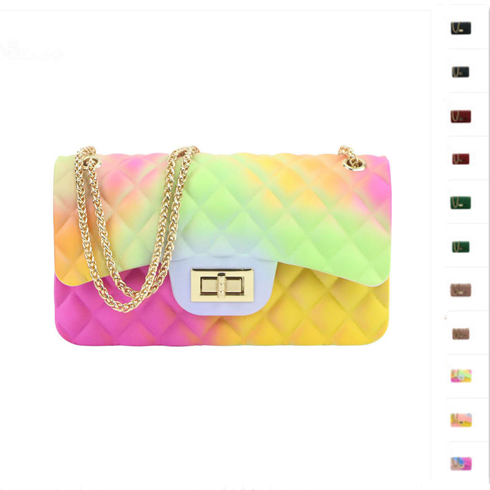 Luxury Brand Jelly Shoulder Bag Women Small PVC Messenger Bag Female Mini Chain Crossbody Bags Diamond Lattice Ladies Handbag