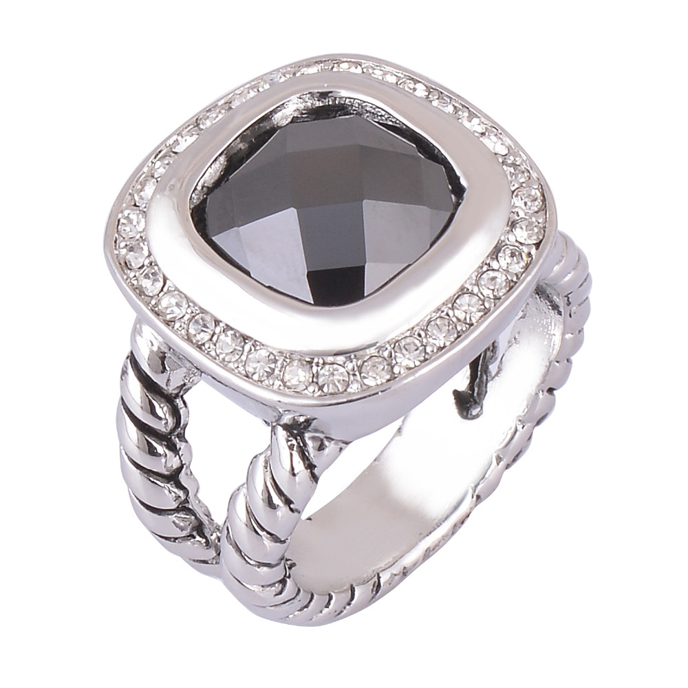 Jet black stone rope band style women fashion ring jewelry Vintage style fashion rings