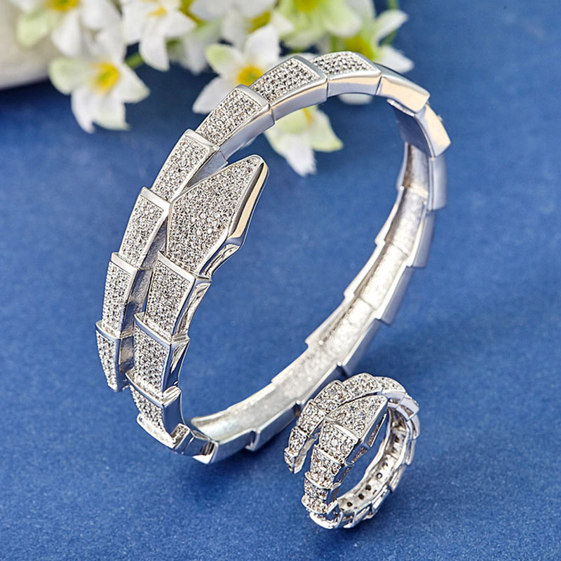Perfect Cubic Zirconia Big Size Snake Bangle & ring Jewelry Sets Best Bridal Jewelry sets Statement women's Gold color bangles