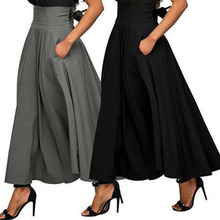 2018 Summer Autumn Skirts Womens Midi Korean Elegant Button High Waist Skirt Female Pleated School Skirt